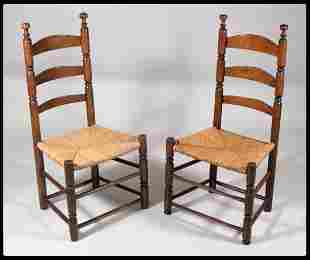 Pair of New Jersey ladder back side chairs with sa