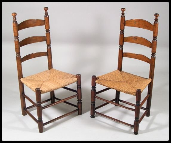 660: Pair of New Jersey ladder back side chairs with sa