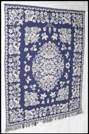 19th century blue and white coverlet inscribed and