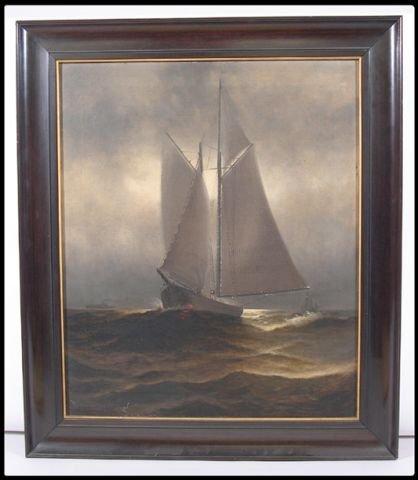 663: W. Plummer, American, (1839-1876), oil on canvas,
