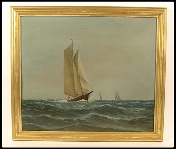 664: H. Brown, American, 19/20th century oil on board,