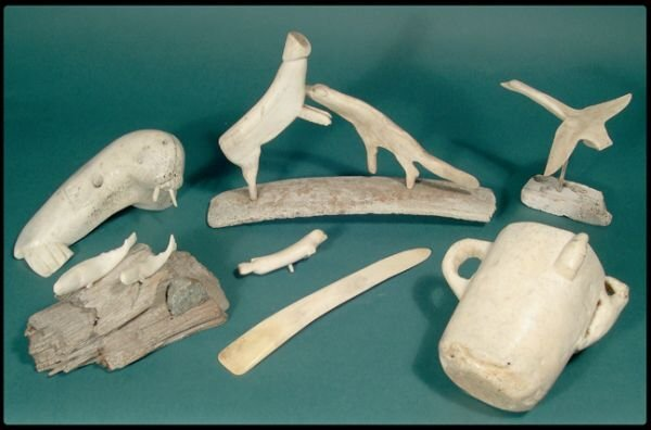 667: A group of six Inuit whalebone carvings.