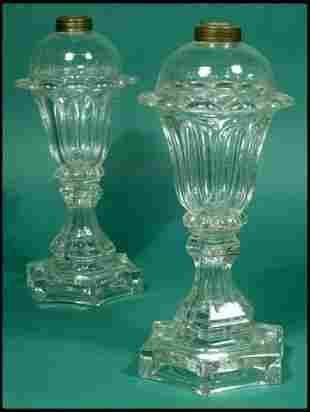 Pair of clear sandwich glass pressed tulip lamps w