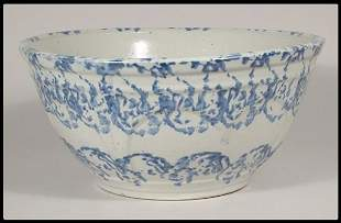 "Blue and white spongeware bowl, 12""D."