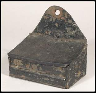 """Tin match-safe in black paint. Height 4 1/2""""."""