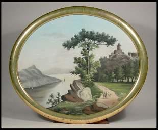Primitive Hudson River School, pastel on paper, la