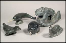 675: Six Eskimo carvings. The first of animal figures,