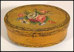 708 Oval band box 19th c paint decorated with a flora