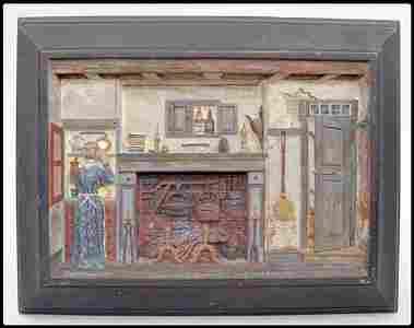 1148: James W. Folgor (1851-1918) Mahogany base relief