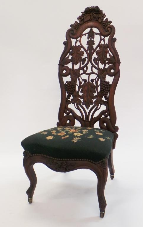 John Belter Carved Rosewood Slipper Chair c.1860