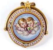 18k Etruscan Revival Micro Mosaic Brooch c1870