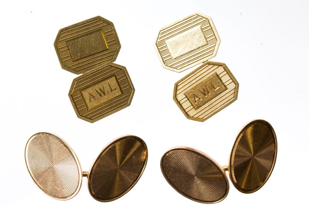Two Pairs of 14k Gold Cuff Links