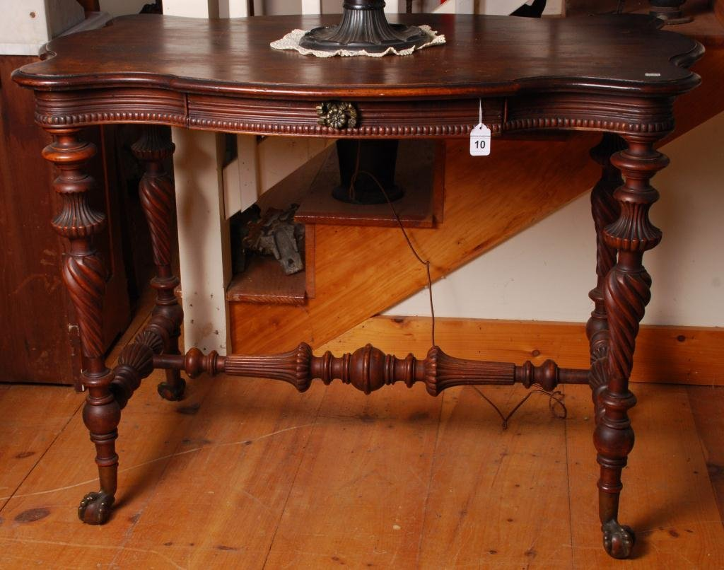 Mahogany Serpentine Top Console Table w/ Drawer