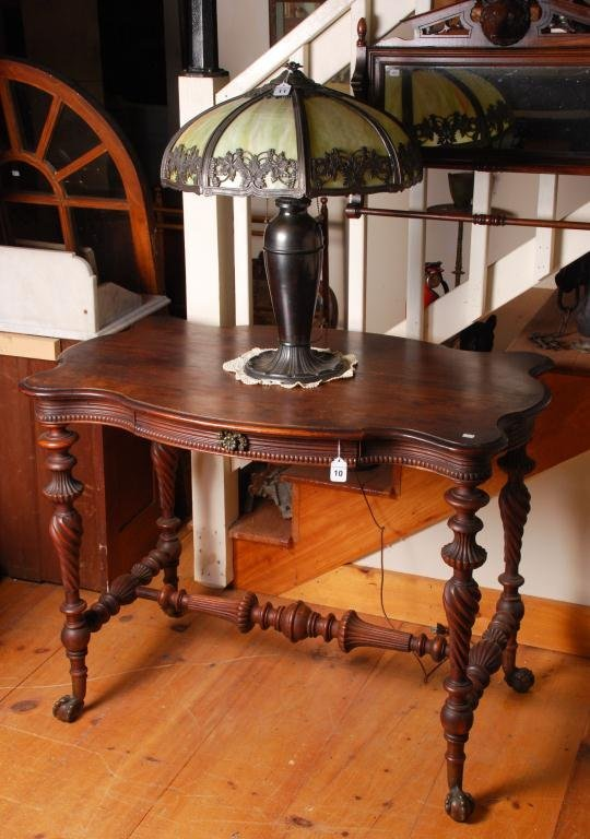 Mahogany Serpentine Top Console Table w/ Drawer - 2