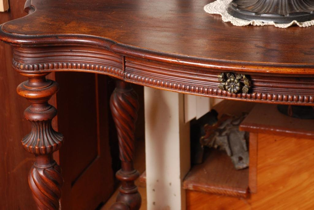 Mahogany Serpentine Top Console Table w/ Drawer - 5