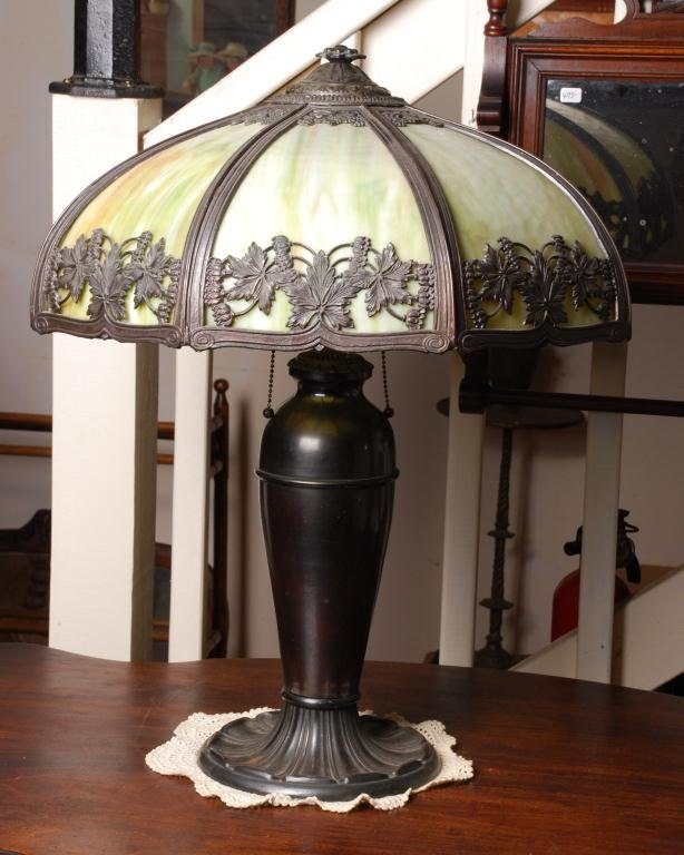 M.L. Company Slag Glass Lamp