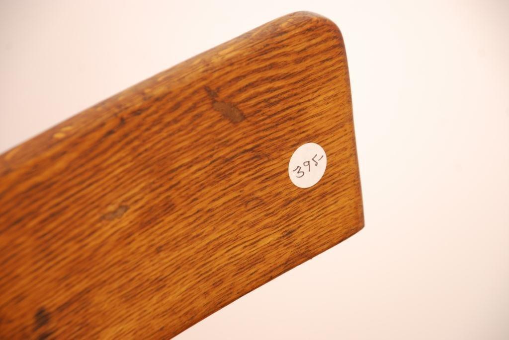 Oak and Cast Iron Swivel Stool with Bent Wood Back - 2