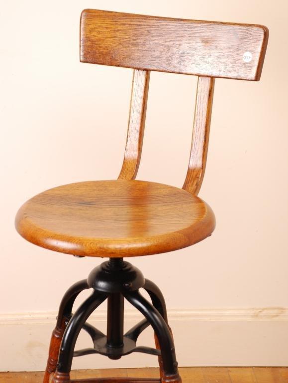 Oak and Cast Iron Swivel Stool with Bent Wood Back - 3