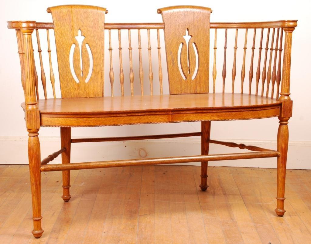 Spindle Oak Love Seat