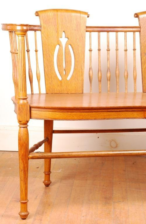 Spindle Oak Love Seat - 2