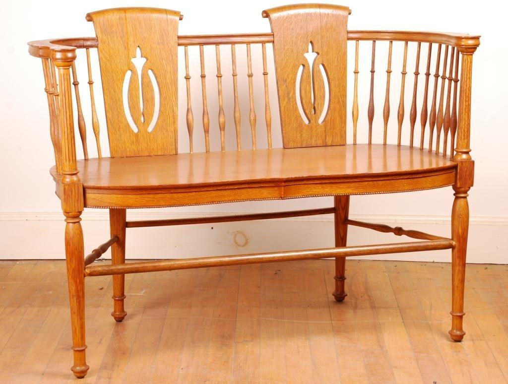 Spindle Oak Love Seat - 3