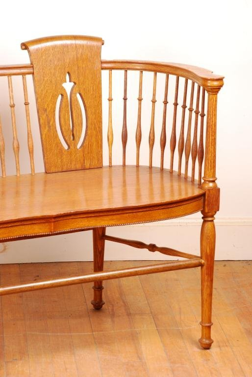 Spindle Oak Love Seat - 4