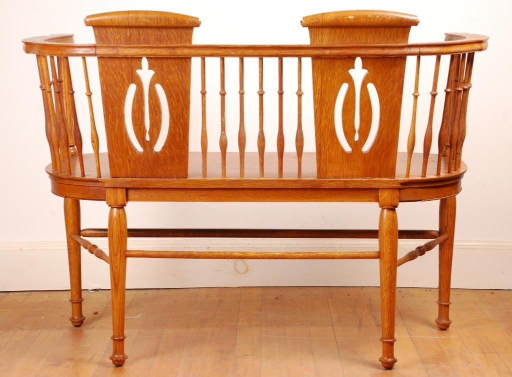 Spindle Oak Love Seat - 5