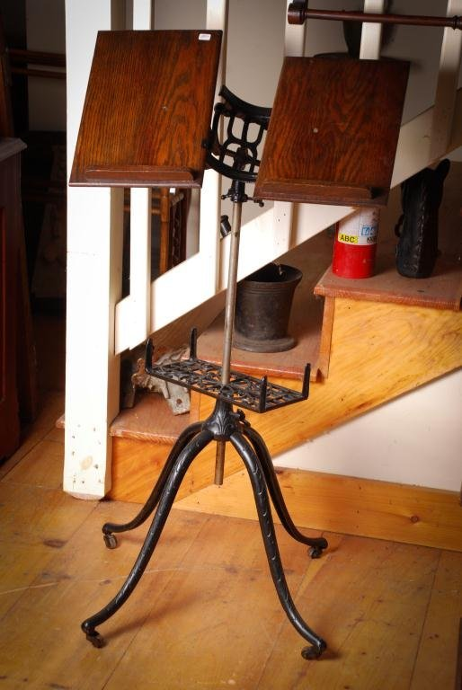 1915 Adjustable Cast Iron and Oak Book Stand