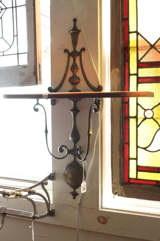 Demi-lune Mahogany and Brass Wall Shelf - 2