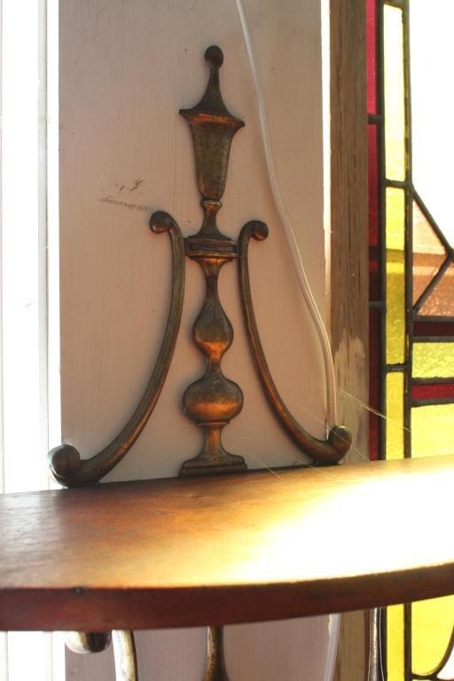 Demi-lune Mahogany and Brass Wall Shelf - 5