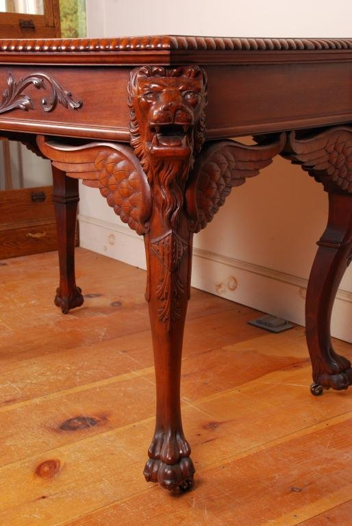 Victorian Mahogany Desk with Carved Winged Lions - 2