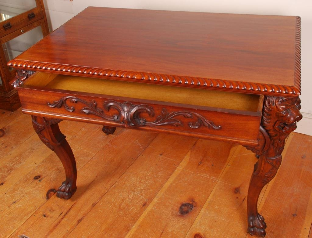 Victorian Mahogany Desk with Carved Winged Lions - 3