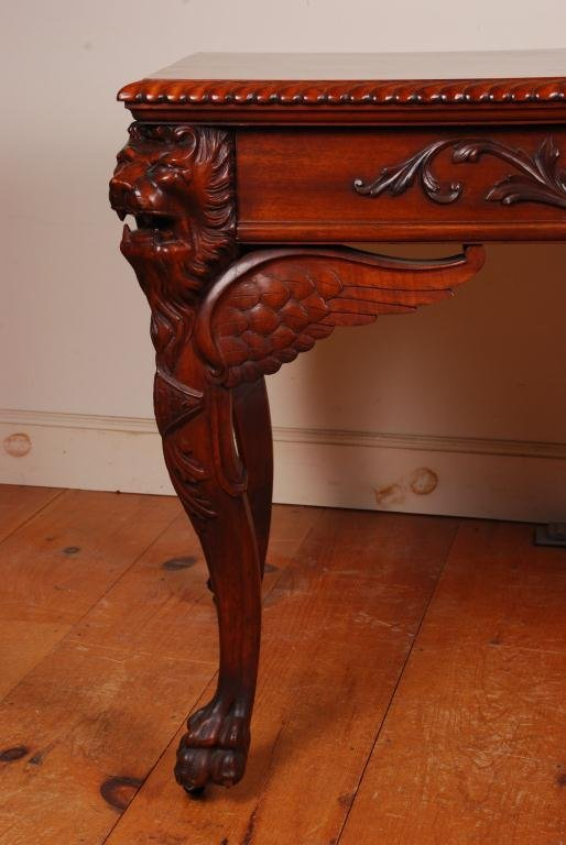 Victorian Mahogany Desk with Carved Winged Lions - 5