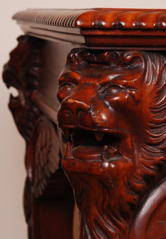 Victorian Mahogany Desk with Carved Winged Lions - 6