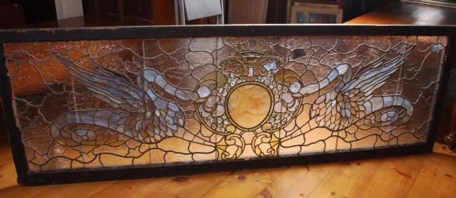 Large Leaded Glass Transom Window