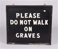 "Tin Sign: ""Please Do Not Walk On Graves"""