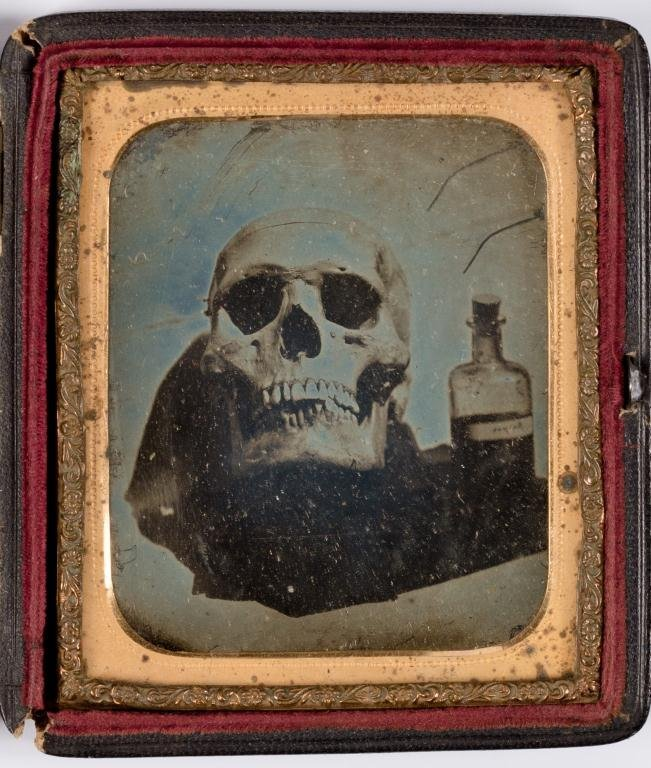 Early 1/6 Plate Daguerreotype of Skull and Poison