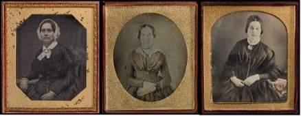 (3) Early 1/6 Plate Daguerreotypes of Women.