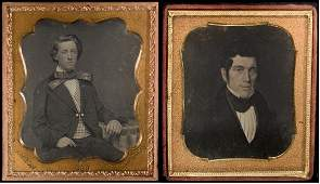 (2) 1/6 Plate Daguerreotypes Young Man & Painting