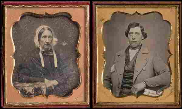 (2) 1/6 Plate Daguerreotypes Signed Hale / Upton
