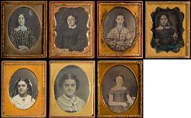 (7) 1/9 Plate Daguerreotypes of Young Woman