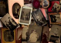 Over (60) Tintypes of Men, Women, Children -Groups