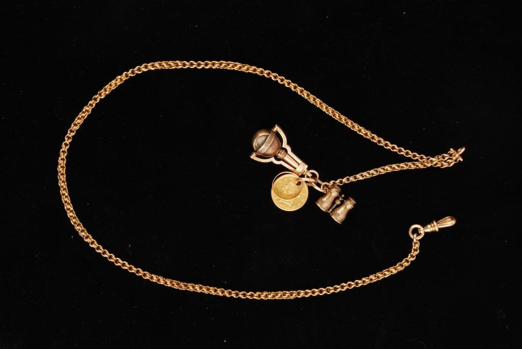 14K GOLD WATCH CHAIN WITH 2 1/2 DOLLAR GOLD PIECE