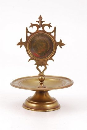 Brass Footed Pocket Watch Stand With Tray