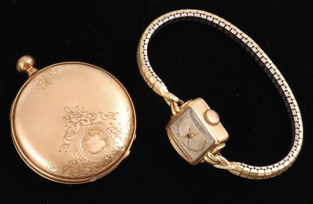 14K GOLD POCKET WATCH AND UNMARKED WRISTWATCH