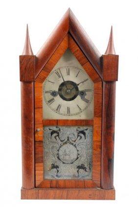 Chauncey Jerome Rosewood Sharp Gothic Shelf Clock
