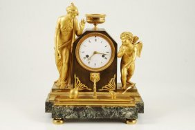 (19th C) French Figural Gilt Bronze Mantle Clock