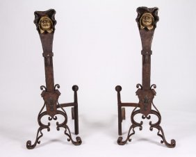 Arts And Crafts Wrought Iron Figural Andirons