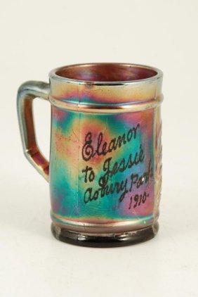 Dugan Amethyst Carnival Glass Fisherman's Mug