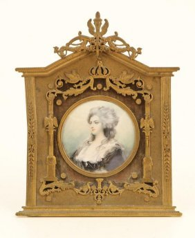 (19th C) Miniature On Ivory Signed Romney